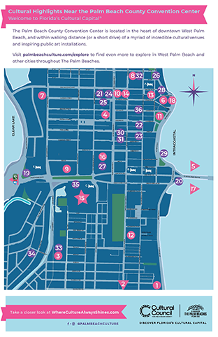 Cultural Destinations near the Palm Beach County Convention Center Map