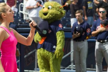Palm Beach Opera's Jessica Fishenfeld sings at the Ballpark of the Palm Beaches home opener